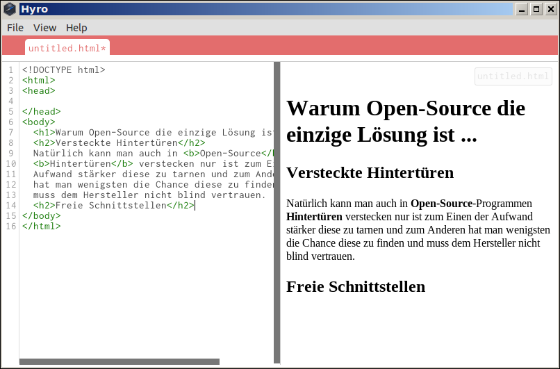 Open-Source-HTML-Editor Hyro